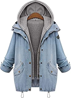 BUOYDM Chaquetas para Mujer Demin Abrigo Outwear con Capucha Trinchera Parka Jacket Sportswear para Otoño e Invierno