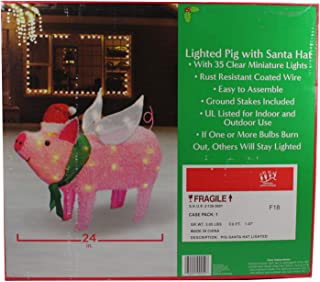 Dazzling Deals Holiday Style Lighted Pig with Santa Hat