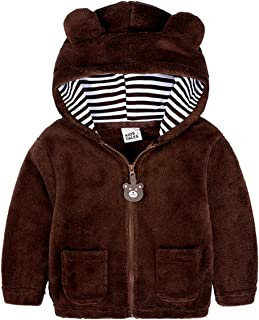 SERAPHY Baby Bear Ears Rompers Kids Cartoon Animal Hoodies Browneathable BabySuits Cotton Zipped Up Outwear Coats Nice Gif...