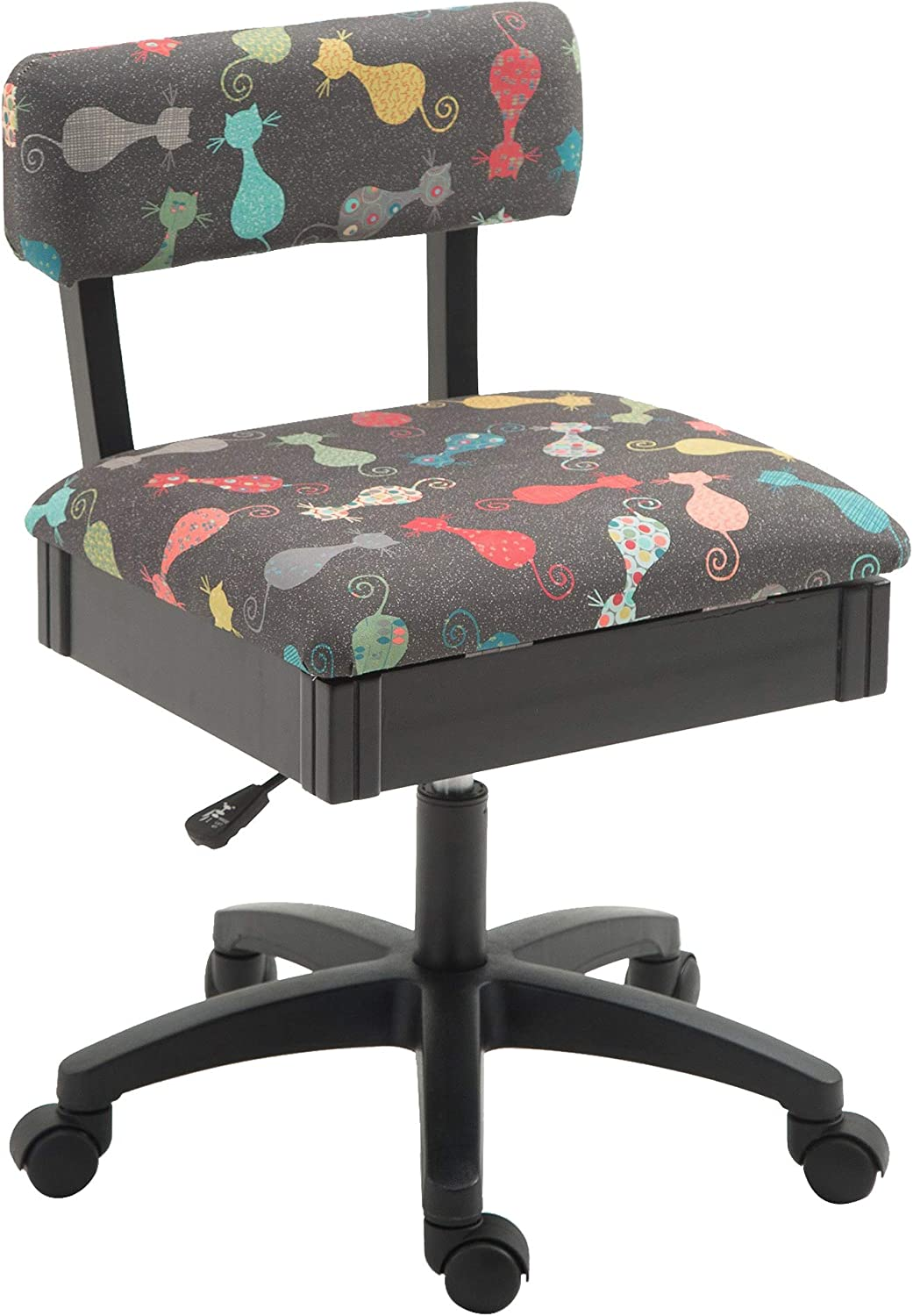 Arrow H6103 Adjustable Height Hydraulic Sewing and Craft Chair with Under Seat Storage and Printed Fabric, Gray Cat Fabric