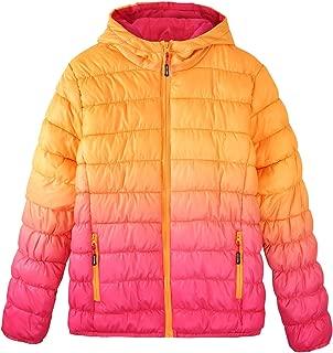 Girl's Zip Off Gradient Water Resistant Dip Dye Hooded Puffer Jacket
