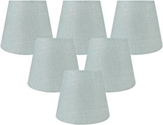 Meriville Set of 6 Capri Linen Clip On Chandelier Lamp Shades, 4-inch by 6-inch by 5-inch