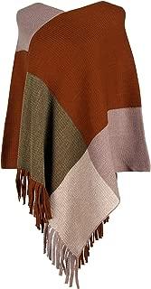 Arjungo Women's Casual Tassel Color Block Poncho Knit Pullover Cozy Cape Shawl Wrap