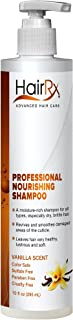 HairRx Professional Nourishing Shampoo with Pump, Luxurious Lather, Vanilla Scent, 10 Ounce