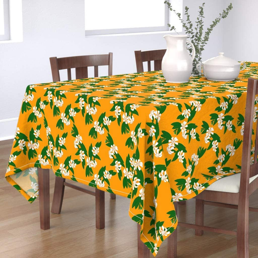 Roostery Tablecloth Bargain sale Max 68% OFF Gardenia Floral Burnt Botanical Leaves Oran