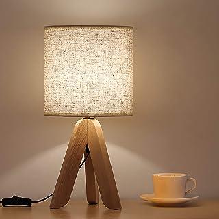 Petite lampe de table de style simple avec abat-jour en lin, trépied en bois, veilleuse pour chambre d'enfant, chambre à c...