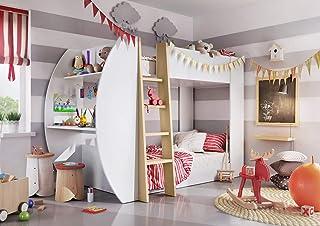 European Smart Furniture - JE-01 Jerry Lit Double Superposés + Matelas + Bureau + Étagères de Rangement, Panneaux Bois : 2...