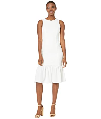 Adrianna Papell Textured Crepe Flounce Dress (Ivory) Women