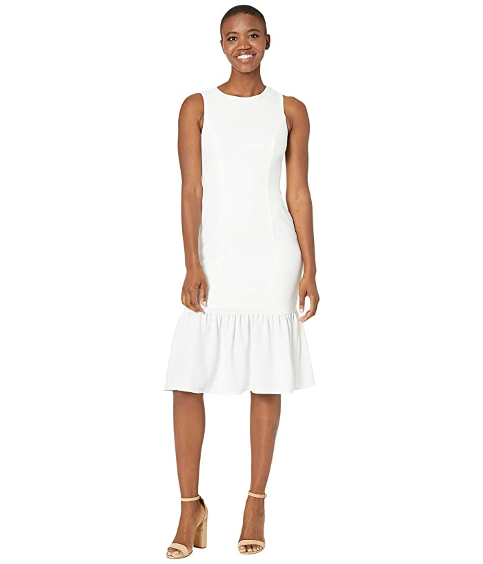 Adrianna Papell  Textured Crepe Flounce Dress (Ivory) Womens Dress