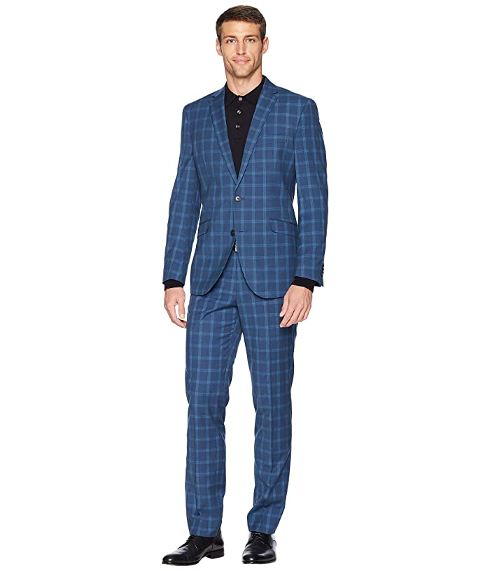 Kenneth Cole Reaction  Unlisted Slim Fit Stretch 32 Finished Bottom Suit (Blue Plaid) Mens Suits Sets