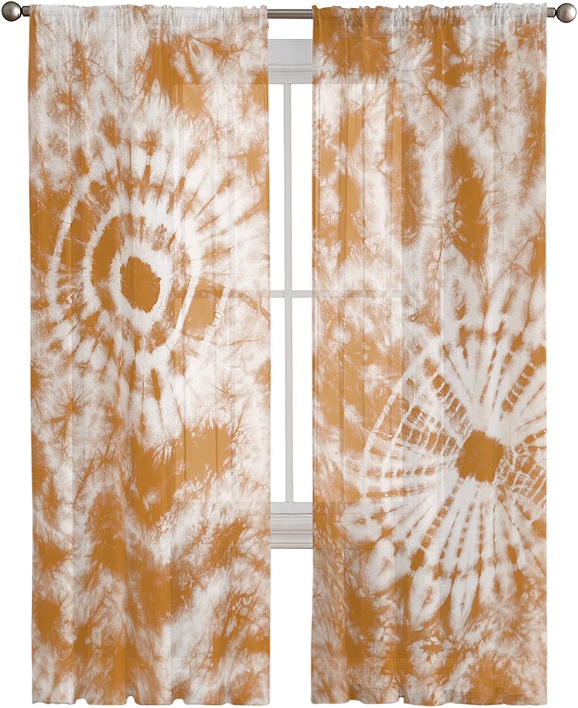 Voile Sheer Curtain Panels Cheap 63inch Virginia Beach Mall Length Rod Tie Dye P Vintage