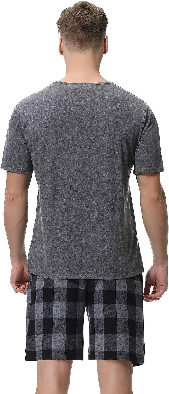 iClosam Pigiama Uomo Cotone 100/% Pigiama Uomo Inverno Corto Comodo Morbido e Traspirante Set Pigiama da Uomo Pantaloni e Magliette a Manica Lungo S-XXL