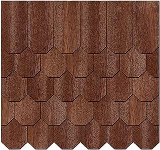 Chapa de madera auténtica Tejas oscuros.–Panal Forma–Tamaños y cantidad de selección de, 50 unidades, 65mm x 32.5mm