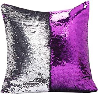 """URSKYTOUS Reversible Sequin Pillow Case Decorative Mermaid Pillow Cover Color Changing Cushion Throw Pillowcase 16"""" x 16"""",Purple and Silver"""