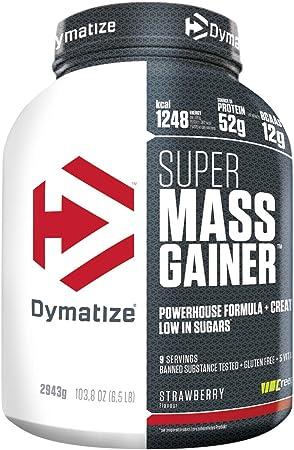 Dymatize Super Mass Gainer, Polvo Para Ganar Peso + Carbohidratos, BCAA y Caseína, Sabor Chocolate - 2,9 kg