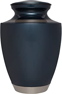 Blue Funeral Urn by Liliane Memorials - Cremation Urn for Human Ashes - Hand Made in Brass - Suitable for Cemetery Burial ...