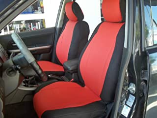 topcar-athens Mix Leatherette and Synthetic Custom Fit Front Car Seat Covers (Fits on Volvo S40 V40 S60 S70 V70 S80 Models Until 2014 Seats) (RED/Black Sides)