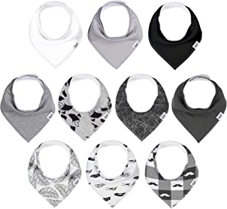 Baby Bandana Drool Bibs for Boys and Girls, Solid Colors,12 Pack Baby for Teething and Drooling, Organic Cotton Bibs