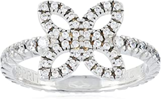 Esprit Women'S Ring 925 Sterling Silver Rhodium Plated Glass Zirconia Brilliance White Flower Size P/Q (18.1 MM) S.ESRG920...
