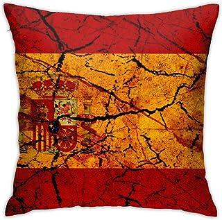 Funda de Almohada Vintage España Bandera Novedad Lindo Divertido Suave y Acogedor con Cremallera Oculta 1 Pieza Queen Size 18x18 Inch