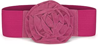 uxcell Elastic Nylon Flower Buckle Waist Belt for Ladies Wedding Belts