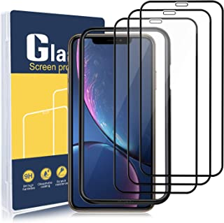 """Excgood Screen Protector for iPhone XR and iPhone 11 (6.1""""), Full Coverage Tempered Glass Film Edge to Edge Protection, wi..."""