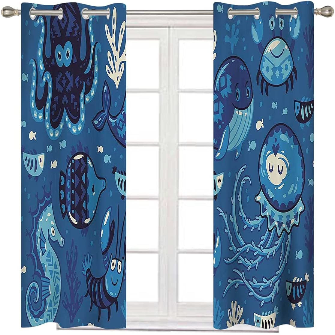 Ocean Decor Window Curtains Max 60% OFF for Bedroom Blac Inches Blue Credence 72 Long