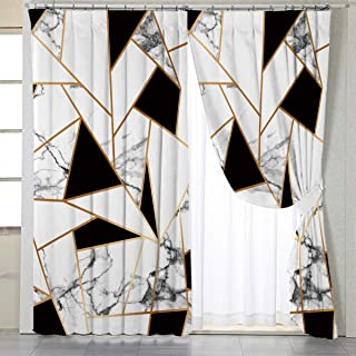 BlessLiving Gold White Curtains for Living, Dining Room and Bedroom Geometric Curtain Marble Elegant Fabric Curtain Window Curtains, 42