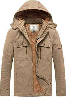 WenVen Men's Warm Military Multi Pockets Cotton Quilted Jacket with Hood