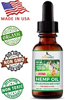 Gold Label Hemp Seed Oil for Dogs and Cats, 1000mg – Anxiety Relief & Joint Health, All Natural Anti-Inflammatory for Pain & Discomfort, Omega 3, 6, 9, Food Grade Supplement   USA Made, 1Fl Oz