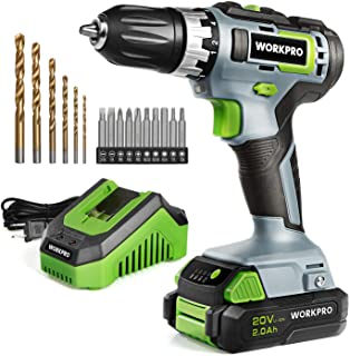 """WORKPRO 20V Cordless Drill/Driver Kit, 3/8"""", 18+2 Torque Setting, Variable Speed, 2.0 Ah Li-ion Battery and 1 Hour Fast Charger"""