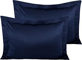 NTBAY Satin Pillow Shams, 2 Pcs Super Soft and Luxury Pillowcases, Navy Blue, Standard