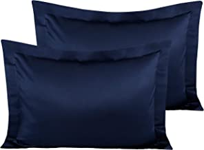 NTBAY Satin Pillow Shams, 2 Pcs Super Soft and Luxury Pillowcases, Navy Blue, Standard