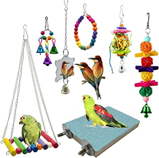 PINCHUANG 7 Packs Bird Swing Chewing Toys- Parrot Hammock Bell Toys Suitable for Small Parakeets, Cockatiels, Conures, Fin...