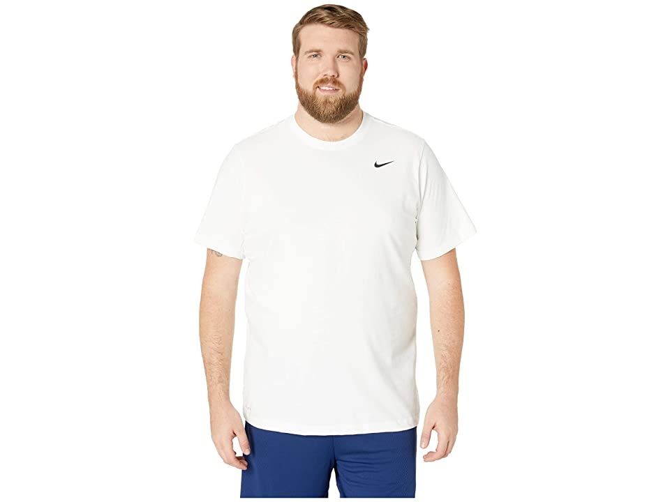 Nike Big Tall Dry Tee Dri-Fit Cotton Crew Solid (White/Black) Men