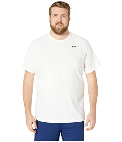Nike Big Tall Dry Tee Dri-Fit Cotton Crew Solid (White/Black) Men