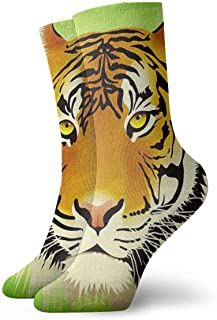 Almost-Okay-Shop, Calcetines de compresión con diseño de tigre y gato, con diseño de animales de la mitad de la pantorrilla, para niño y niña