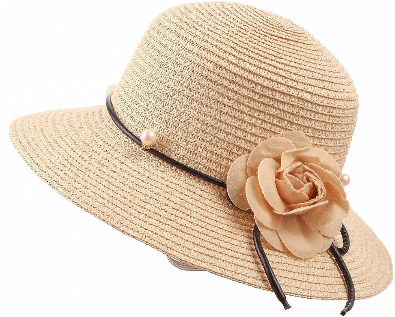 CHARMGIRL Women's Straw Hat Big Brim Foldable Flower Pearl Summer Beach Cap Sun Hat