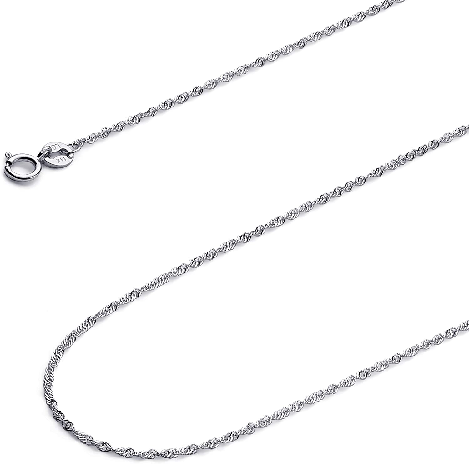 14k REAL Yellow OR White Gold Solid 1mm Singapore Chain Necklace with Spring Ring Clasp