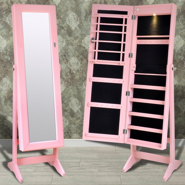 Anself 46 x 37 x 146 cm Schmuckschrank Stehender Spiegelschrank Standspiegel mit LED Licht 4 Farbe Optional