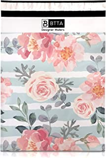BTTA Designer Mailers 50 Pack 14.5 X 19 Pink Stripes and Flowers Poly Mailers Shipping Envelopes Bags with Custom Printed Boutique Pattern and Self Seal Adhesive Strip - Large Heavy Duty Bulk