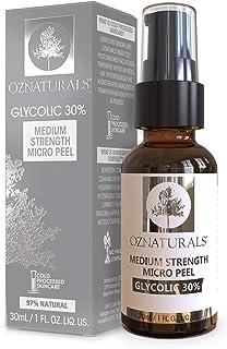 OZNaturals Glycolic Acid Chemical Peel: Glycolic 30% Medium Strength Micro Peel - Alpha Hydroxy Acid Facial Skin Exfoliant...