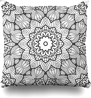 Ahawoso Throw Pillow Cover Page Abstract Adult Coloring Zendoodle Flower Arabic Backfround Bohemian Book Chakra Design Decorative Pillow Case 18x18 Inches Square Home Decor Pillowcase