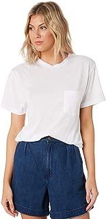 Rollas Women's Womens Tomboy Tee Crew Neck Short Sleeve Cotton Polyester White
