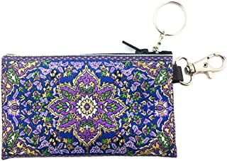 Religious Gifts Tapestry Cloth Keychain Rosary Coin Change Case Pouch Purse Purple Blue 4 3/4 Inch