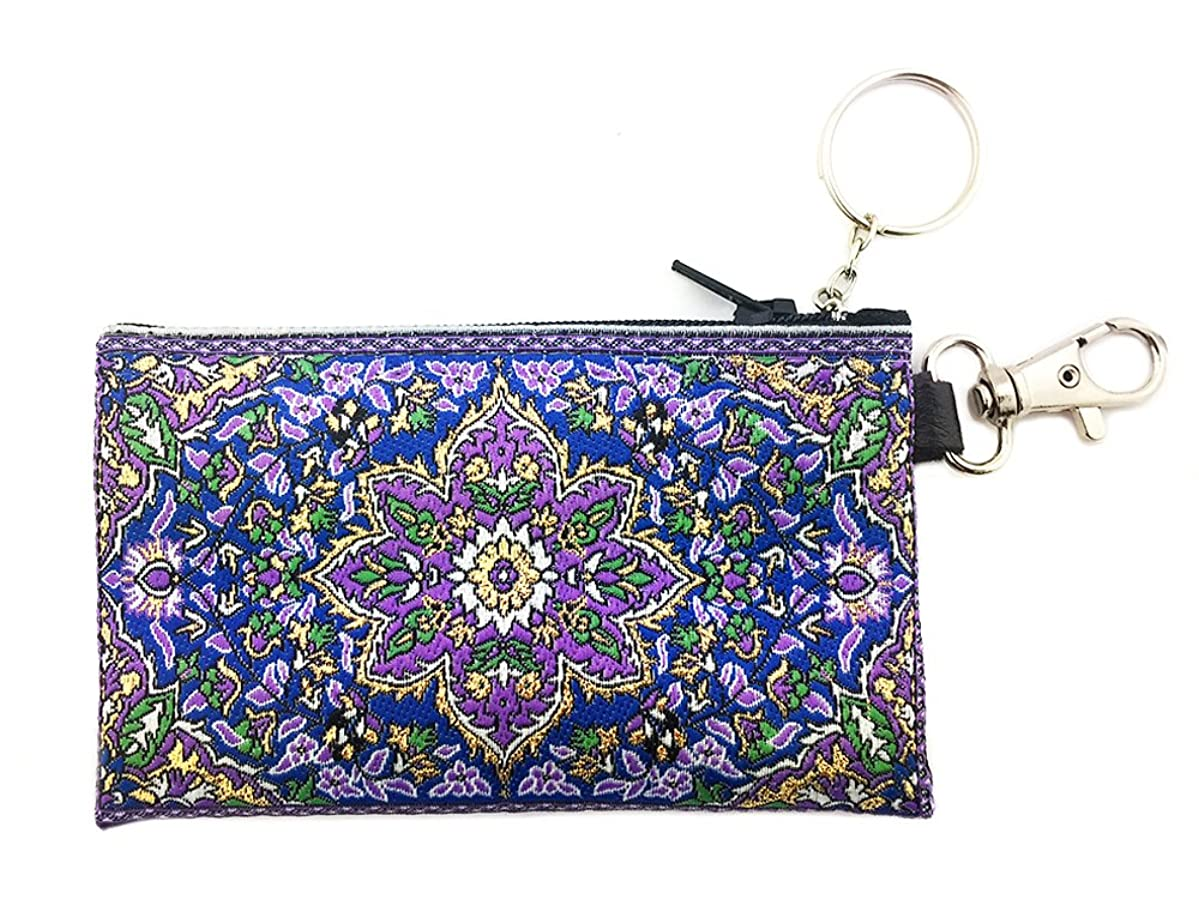 Tapestry Cloth Keychain Rosary Coin Change Case Pouch Purse Purple Blue 4 3/4 Inch