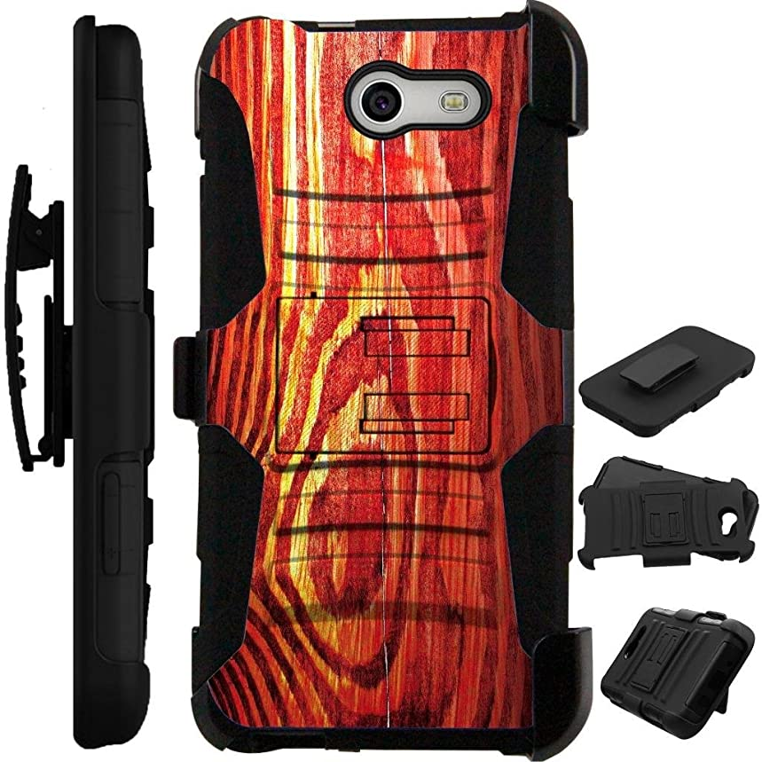 For Samsung Galaxy Halo Case / Galaxy J7 Perx Case / Galaxy J7 Prime Case / Galaxy J7 Sky Pro / Galaxy J7V Case Armor Hybrid Cover Stand LuxGuard Holster + Tempered Glass (Wood Print)