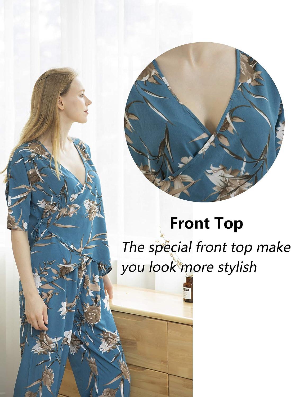 ZOHERET Womens 2 Piece Pajamas Sets Ladies Loungewear Nightwear, Short Sleeve Tops and Long Pants Sleepwear