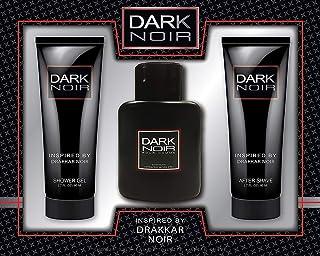 Dark Noir Men 3 Piece Fragrance Gift Set, Includes. Eau De Toilette, After Shave and Shower Gel Inspired By Drakkar Noir