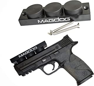 MAGDOG Gun Magnet Mount (48 Pound Rating) - 4.25'' x 1.2'' x .75'' Magnetic Gun Mount for Pistols, Shotguns, Rifles, Revolvers, Magazines - Concealed Holder for Car, Home, Office